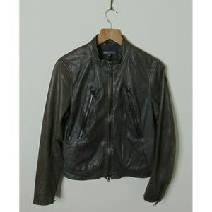 Vince. M Soft Leather Jacket Moto Gray Outerwear